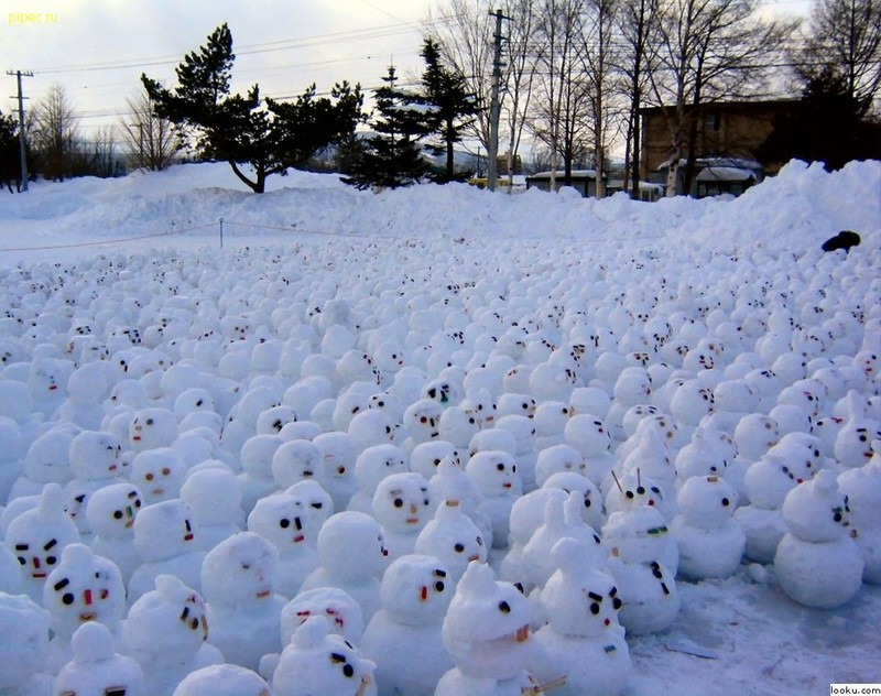 Snowmen having climate warming protest